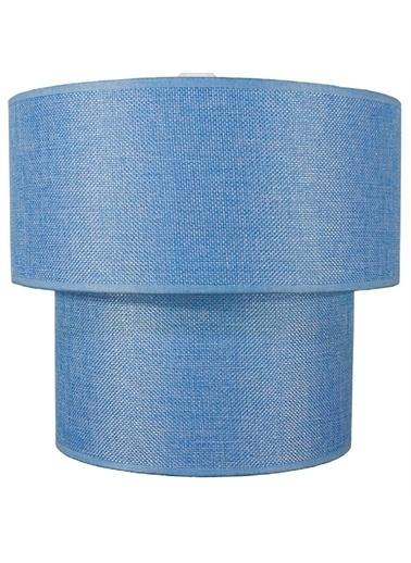 Şenay Aydınlatma İkili Silindir Kumaş Avize Sarkıt-Mavi Renkli